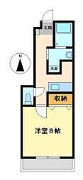 愛知県岩倉市西市町西市前の賃貸アパートの間取り
