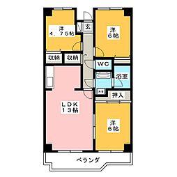 吉田ヶ丘ハイツ[4階]の間取り