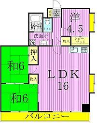 クリスタルマンション[4階]の間取り