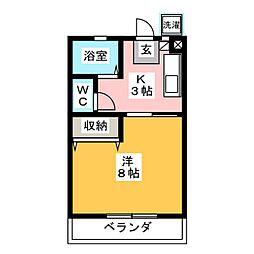 アクティ三田 東棟 2階1Kの間取り