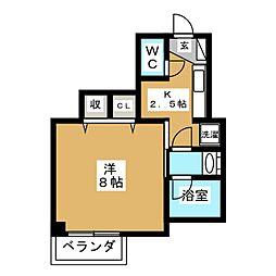 都営浅草線 馬込駅 徒歩8分の賃貸マンション 1階1Kの間取り
