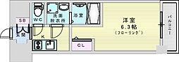 おおさか東線 JR淡路駅 徒歩7分の賃貸マンション 8階1Kの間取り