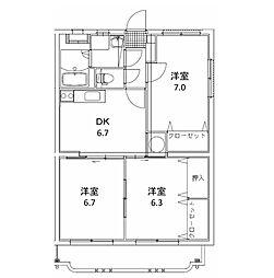 ユーミーマンション 松岡[303号室]の間取り