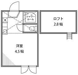 東京都練馬区練馬3丁目の賃貸アパートの間取り