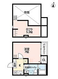 JR東北本線 東仙台駅 徒歩11分の賃貸アパート 1階1Kの間取り