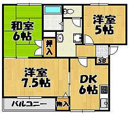 兵庫県川西市笹部の賃貸アパートの間取り