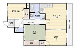 大阪府大阪市平野区瓜破西3丁目の賃貸マンションの間取り