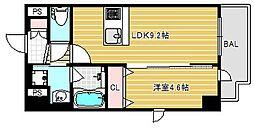 ハーヴェスト京町堀[2階]の間取り