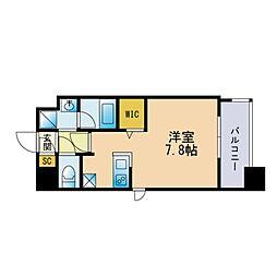 ザ・レジデンス博多 8階ワンルームの間取り