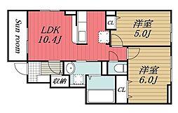 北総鉄道 印西牧の原駅 徒歩28分の賃貸アパート 1階2LDKの間取り