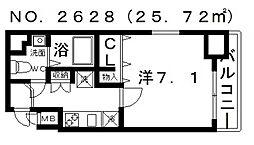 ポルト・ボヌール四天王寺夕陽ヶ丘ミラージュ 4階1Kの間取り