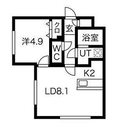 (仮)中の島1-2MS 1階1LDKの間取り