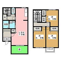 [テラスハウス] 神奈川県厚木市愛甲3丁目 の賃貸【/】の間取り