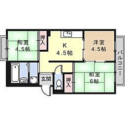 シャンポール・ド・高槻[1階]の間取り
