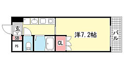 エスポワール三宮Ⅱ[705号室]の間取り