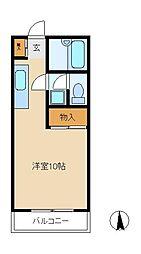 千葉県松戸市常盤平陣屋前の賃貸アパートの間取り