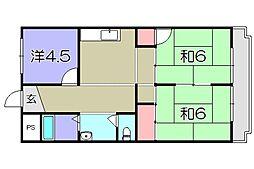八日市ウイング[2階]の間取り