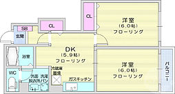 JR東北本線 岩沼駅 徒歩10分の賃貸アパート 1階2DKの間取り