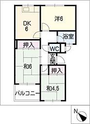 WHITE COURT 米津[2階]の間取り