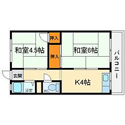 大阪府箕面市粟生間谷東5丁目の賃貸アパートの間取り