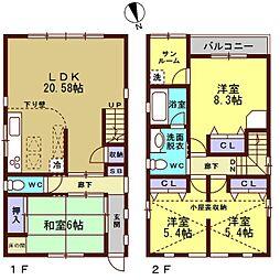 [一戸建] 石川県金沢市東力4丁目 の賃貸【/】の間取り