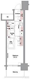 ザ・パークハビオ堂島 8階1Kの間取り