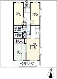 クレール壱番館[4階]の間取り