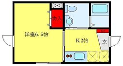 JR山手線 大塚駅 徒歩7分の賃貸アパート 2階1Kの間取り