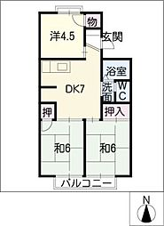 ジュネスマルフクA・B棟[2階]の間取り
