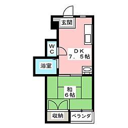 川島第三ビル[4階]の間取り