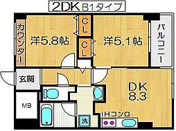 フェリステージ塚本[4階]の間取り