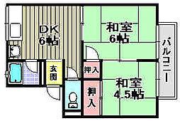 ヒガシハウス別所[202号室]の間取り