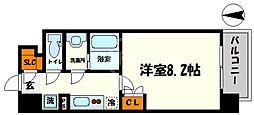 BPRレジデンス新梅田 5階1Kの間取り