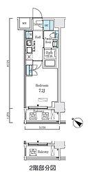 都営浅草線 人形町駅 徒歩9分の賃貸マンション 2階1Kの間取り