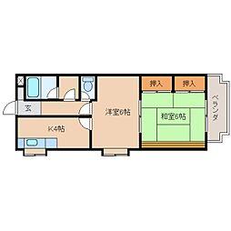 JR東海道本線 静岡駅 徒歩14分の賃貸マンション 2階2Kの間取り
