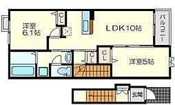 エアリフロント 2階2LDKの間取り