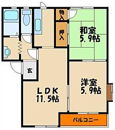 コスモフォリオ[2階]の間取り