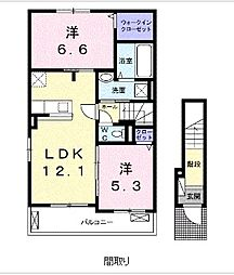 JR宇部線 床波駅 徒歩4分の賃貸アパート 2階2LDKの間取り