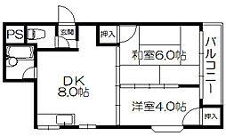 Osaka Metro谷町線 守口駅 徒歩8分の賃貸マンション 2階2LDKの間取り