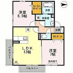 プランドール ドミール A棟・B棟[A202 号室号室]の間取り