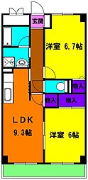 静岡県浜松市東区市野町の賃貸マンションの間取り