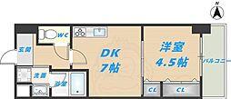 スタシオン俊徳道 3階1DKの間取り