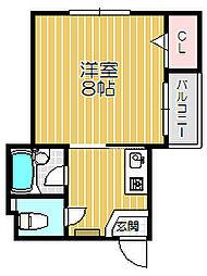 京阪本線 土居駅 徒歩7分の賃貸マンション 4階1Kの間取り