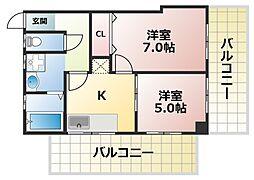 ショウケンマンション3[4階]の間取り