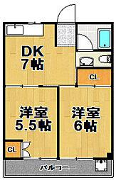 マンションニュー茜[3階]の間取り