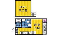 南海線 堺駅 徒歩14分の賃貸アパート 1階ワンルームの間取り
