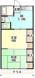 コーポ坪井[102号室]の間取り