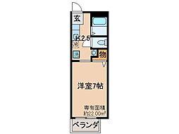 京都府京都市伏見区納所町の賃貸アパートの間取り