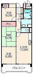 大阪府枚方市長尾元町6丁目の賃貸マンションの間取り
