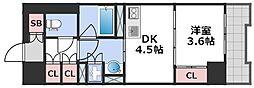 エル・セレーノ大阪天神橋 2階1DKの間取り
